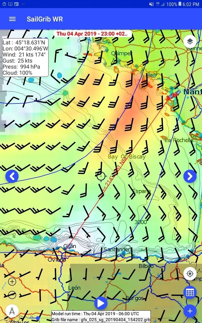 Animation météorologique sur SaiLGrib