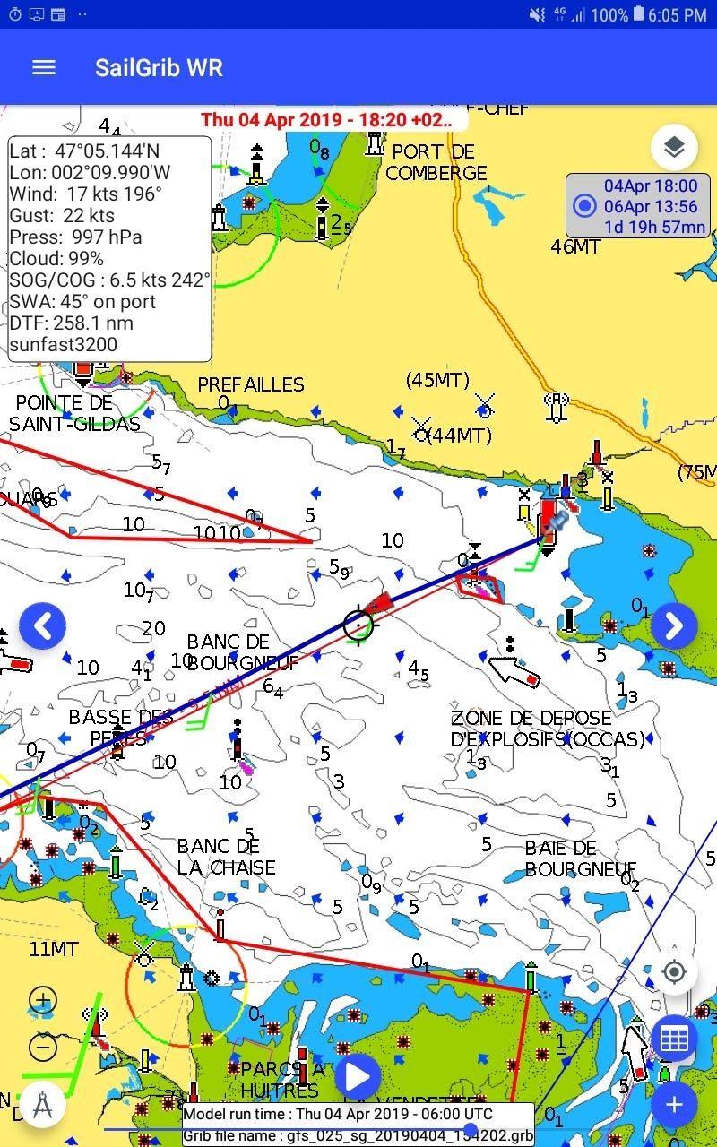 Cartes Navionics sur SailGrib