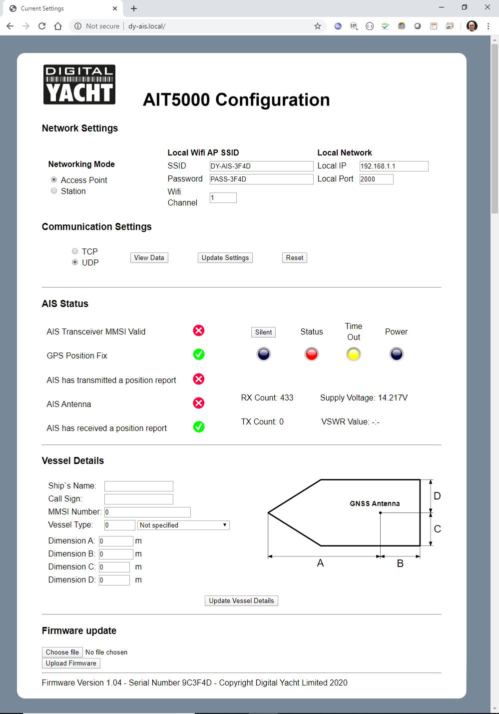 Interface web de l'AIT5000