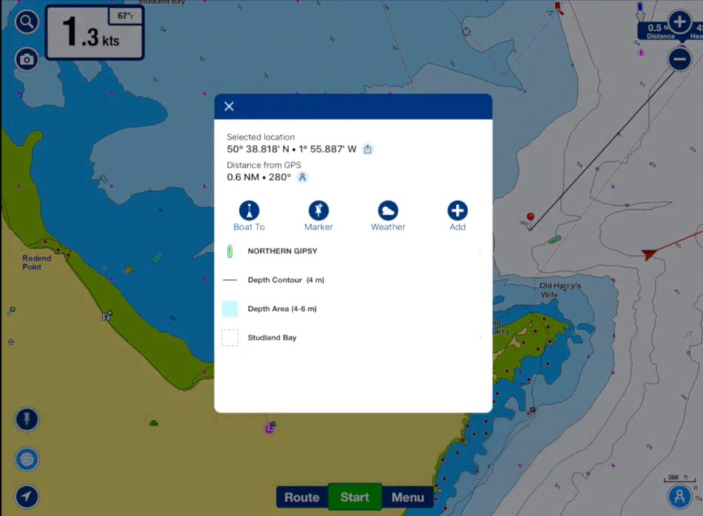 information about AIS targets on Navionics