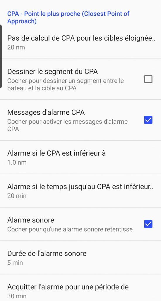 Alarmes CPA et TCPA dans SailGrib