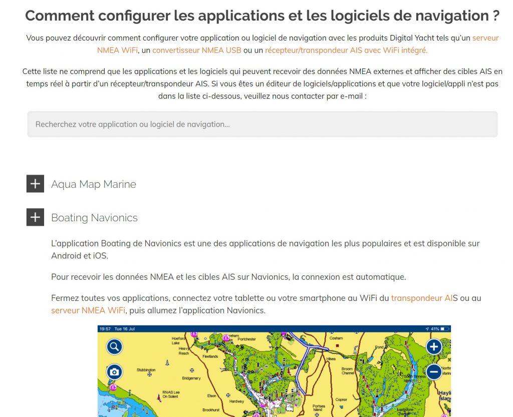 comment configurer les applis et logiciels de navigation
