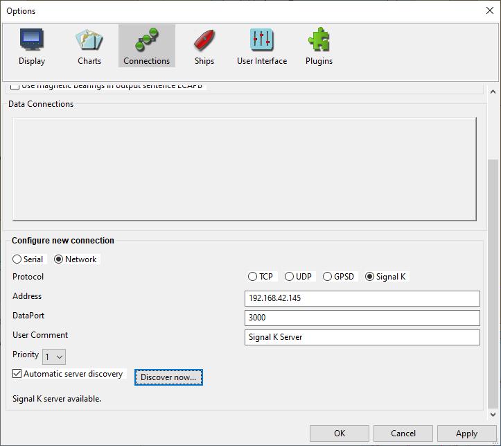 Interface d'OpenCPN